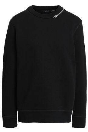 조셉 JOSEPH Zip-embellished French cotton-terry sweatshirt,Black