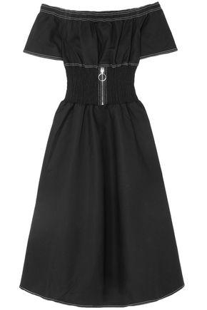 마쥬 MAJE Off-the-shoulder shirred cotton-blend dress,Black