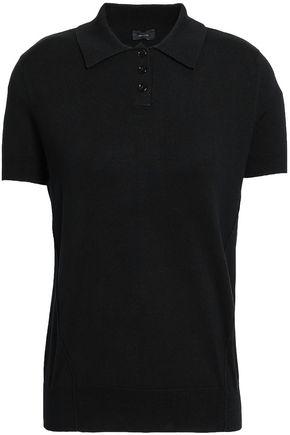 조셉 JOSEPH Stretch-silk polo shirt,Black