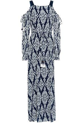 토리버치 Tory Burch Cold-shoulder printed georgette maxi dress,Navy