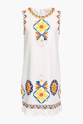 토리버치 Tory Burch Embellished linen mini dress,Ivory