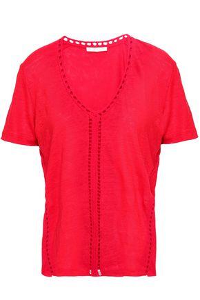마쥬 MAJE Slub linen jersey T-shirt,Claret
