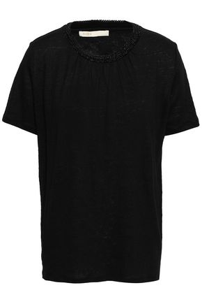 마쥬 MAJE Embellished slub linen-jersey T-shirt,Black