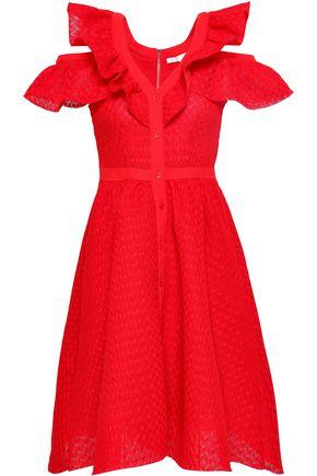 마쥬 크레이프 원피스 MAJE Crepe-trimmed ruffled crocheted lace dress,Red