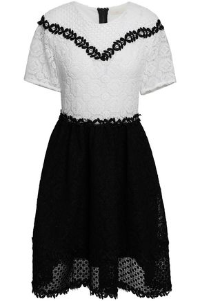 마쥬 미니 원피스 MAJE Two-tone guipure lace mini dress,Black