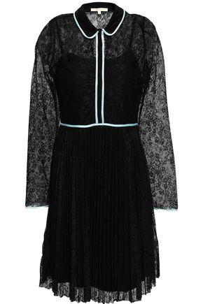 마쥬 미니 원피스 MAJE Satin-trimmed lace mini dress,Black