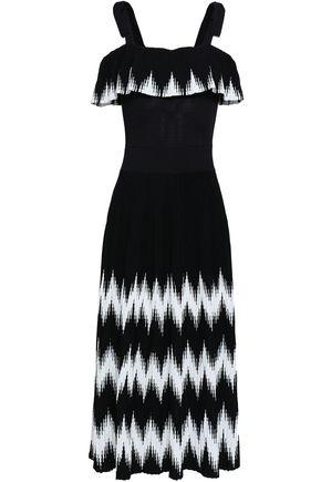 마쥬 MAJE Cold-shoulder intarsia-knit midi dress,Black