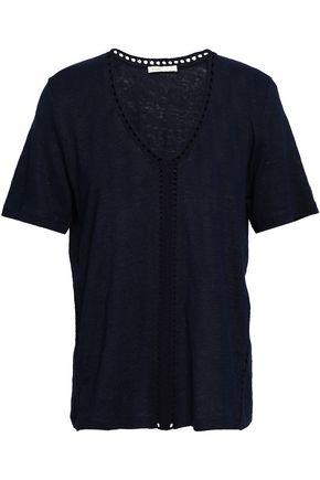 마쥬 MAJE Slub linen jersey T-shirt,Navy
