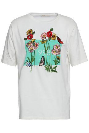마쥬 MAJE Embroidered cotton-jersey T-shirt,Ivory