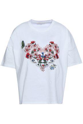 마쥬 MAJE Embroidered cotton-jersey T-shirt,White