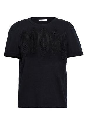 마쥬 MAJE Corded lace-paneled cotton-jersey T-shirt,Black