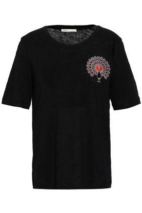 마쥬 MAJE Appliqued linen T-shirt,Black