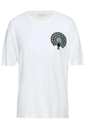 마쥬 MAJE Appliqued linen T-shirt,Ivory