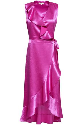 마쥬 미디 랩 원피스 MAJE Ripple ruffled satin midi wrap dress,Magenta
