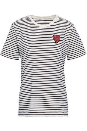 마쥬 MAJE Embellished striped cotton-jersey T-shirt,Off-white