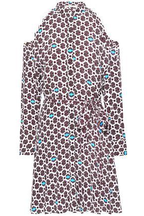 마쥬 MAJE Ralinka cold-shoulder printed crepe mini dress,Off-white