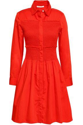 마쥬 MAJE Roumpa smocked cotton-poplin mini shirt dress,Tomato red