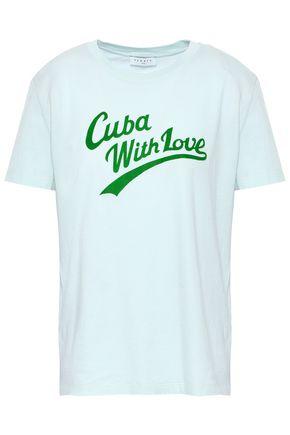 산드로 Sandro Flocked cotton-jersey T-shirt,Mint