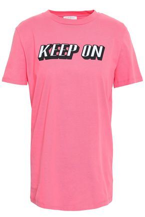 산드로 Sandro Embroidered cotton-jersey T-shirt,Bubblegum
