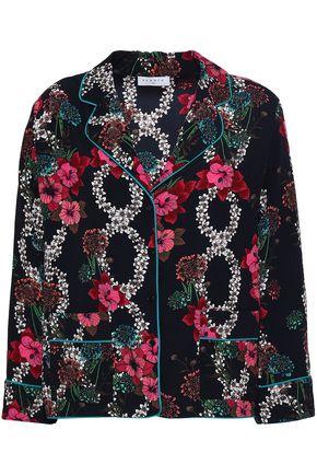 산드로 Sandro Floral-print crepe de chine shirt,Black