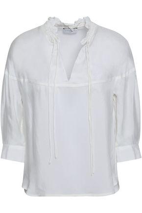 산드로 Sandro Ruffle-trimmed twill blouse,White