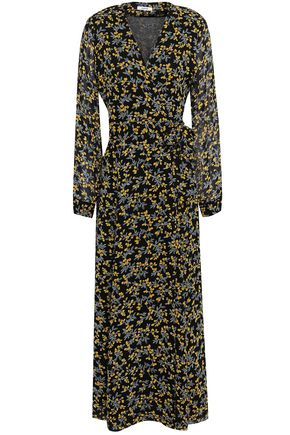 가니 꽃무늬 원피스 GANNI Marceau floral-print georgette maxi wrap dress,Black