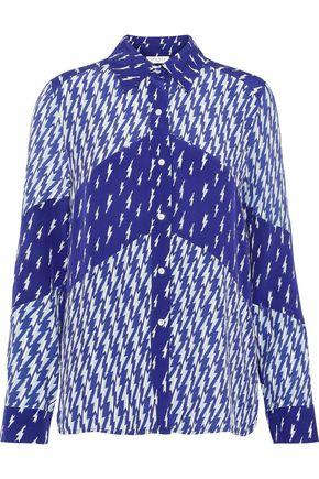산드로 Sandro Cinie printed washed silk-paneled crepe de chine shirt,Indigo