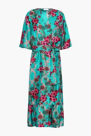 산드로 Sandro Floral-print satin midi wrap dress,Teal