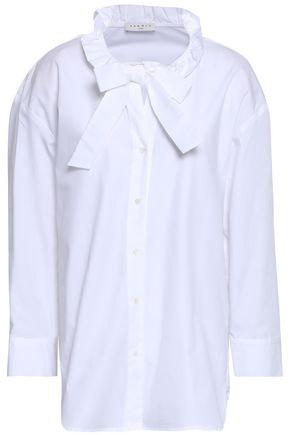 산드로 셔츠 Sandro Bow-detailed cotton-poplin shirt,White