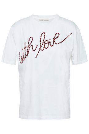 마쥬 MAJE Crystal-embellished cotton-jersey T-shirt,White