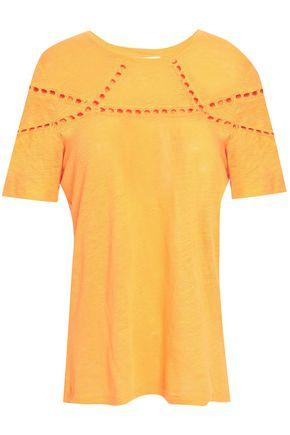 마쥬 MAJE Crochet-trimmed linen T-shirt,Marigold