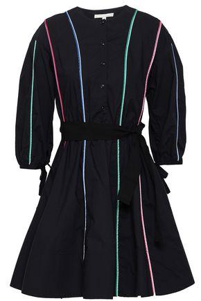 마쥬 MAJE Belted cotton-poplin mini shirt dress,Black
