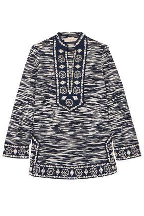 토리버치 Tory Burch Embellished printed cotton-voile tunic,Navy