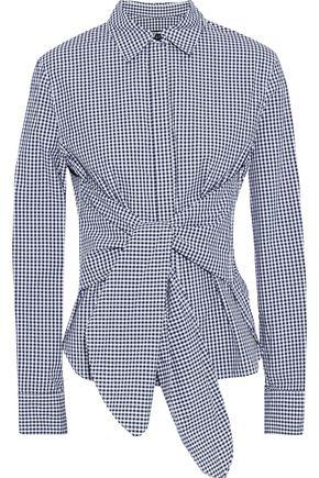랙앤본 Rag & Bone Wendy tie-front gingham cotton-poplin shirt,Navy