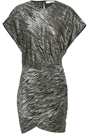 이로 IRO Metallic silk-blend jacquard mini dress,Platinum