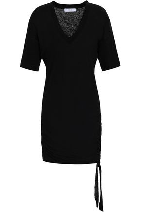 이로 IRO Lace-up slub linen-jersey mini dress,Black