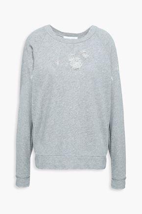 이로 IRO Distressed French cotton-terry sweatshirt,Light gray