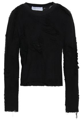 이로 IRO Distressed French cotton-blend terry sweatshirt,Black