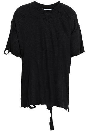 이로 IRO Mitalba distressed slub linen-jersey T-shirt,Black