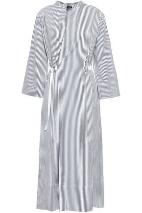 조셉 스트라이프 미디 랩 원피스 JOSEPH Laury striped cotton-poplin midi wrap dress,Gray