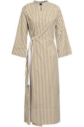 조셉 스트라이프 미디 랩 원피스 JOSEPH Laury striped cotton-poplin midi wrap dress,Sage green