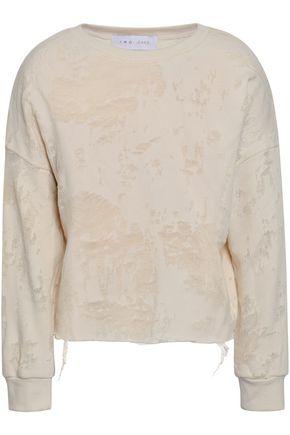 이로 IRO Sudami distressed French cotton-blend terry sweatshirt,Beige