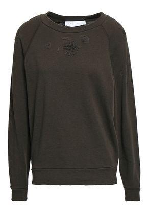 이로 IRO Distressed French cotton-terry sweatshirt,Army green