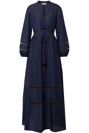 토리버치 Tory Burch Embellished cotton and silk-blend maxi dress,Navy
