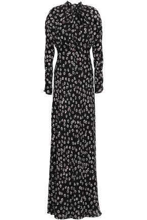 토리버치 Tory Burch Diane floral-print silk-crepe maxi dress,Black