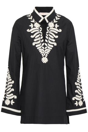 토리버치 Tory Burch Bead-embellished embroidered cotton-poplin tunic,Black