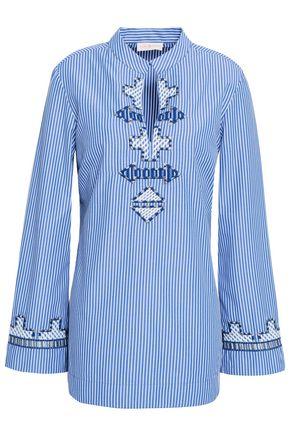토리버치 Tory Burch Embroidered striped poplin tunic,Blue