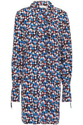 토리버치 Tory Burch Pleated printed silk mini shirt dress,Multicolor
