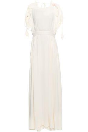 토리버치 Tory Burch Evalene cold-shoulder crepe maxi dress,Ivory