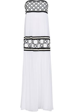 토리버치 Tory Burch Guipure lace-paneled silk crepe de chine maxi dress,White